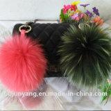 China Raccoon Fur/Big Pompom Knitted Beanie Hat/Bag Charms