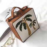 2017 New Design Fashion Handbag Embroidery Coconut Tree Box Shoulder Bags for Lady Sy8468