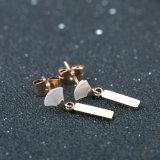 Elegant Lady Fashion Jewelry Stainless Steel Fan-Shaped Drop Earrings