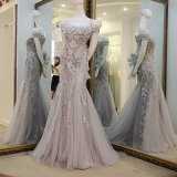 Illusion Evening Dresses Lace Tulle Formal Gowns Mother Dress B24
