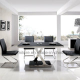 Modern Style Black Glass Dining Table with Stainless Steel Frame