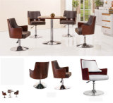 Round Metal Base Wooden Back Bar Chair Modern Furniture (UL-JT523)