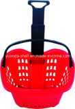 Large Volume New Plastic Supermarket Shopping Rolling Trolley Basket/Apple Basket with Two Wheels Manufacture