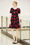 Short Sleeve High Waist Winter Swing Dress in Star Printing Fabric