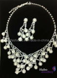 Shiny Glass Diamond with Pearl Bridal Necklace and Earrings Sets (XJW1704)