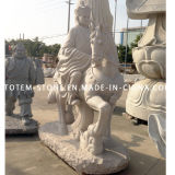 Natural Art Granite Stone Carved Tripitaker and Horse Buddha Sculpture