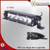 30W 6inch CREE Single Row LED Light Car Bar for 4X4 Offroad, Rhos Certification