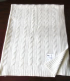Cashmere Knitted Blanket with Cables Cth12001