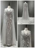 Beaded Evening Dress with Shawl Gold/Grey