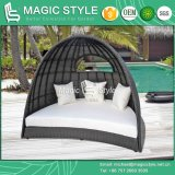 High Quality Daybed with Cushion Outdoor Wicker Daybed Patio Rattan Sun Bed (Magic Style)