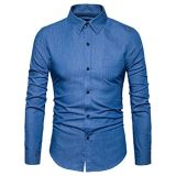Men′s Casual Slim Fit Demin Dress Shirt with Pocket
