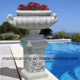 White Marble Flowerpot/Planter with Relief, Square Pillars