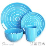Blue Color 16PCS Stoneware Tableware Set for Home Use