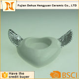 Silver Heart Shaped Ceramic Wedding Candle Holder with Angel Wing