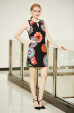 Sleeveless Round Neck Digital Printing Floral Tunic Dress with Front Key Hole