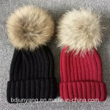 POM Fur Ball Knitted Hat for Gilrs