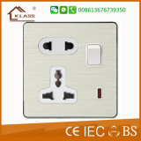 5pins Universal Single Power 13A Electrical Sockets with Switch