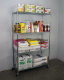 NSF 4 Tier Chrome Wire Shelving Rack with Wheels From 16 Years Factory
