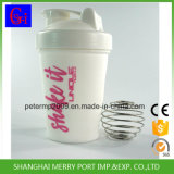 Portable Solid White Color 400ml Plastic Protein Shaker with Stainess Metal Ball