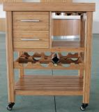 Carbonized Vertical Solid Bamboo Kitchen Trolly
