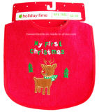 Factory OEM Produce Custom Logo Embroidered Cotton Terry Christmas Baby Bib