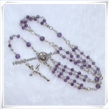 Catholic Amethyst Style Beads Rosary Miraculous Mary Cross Jesus (IO-cr202)