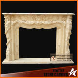 Hand Carved Fireplace Surround with Yellow Beige Marble