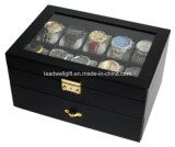 Clear Glass Top Black 20 Watch Drawer Display Case with Key Lock Watch Box