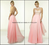High Neck Fashion Ladies Gowns Sheer A-Line Party Prom Dress Ra918