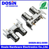 180 Degree Nickel Plated Dual Female BNC Connector for PCB Appliance