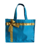 Fashion Simple Design Nylon Ladies Tote Shopper Bag Promotion Christmas Gift Bag with Satin Ribbon Bow