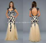 Hollow Back Evening Dresses Black Lace Nude Sweetheart Prom Pageant Dresses Ht818