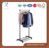 Portable Rolling Garment Rack Single Rail for Supermarket
