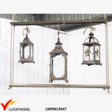 3 Glass Windows Wood Vintage Candle Hanging Lantern