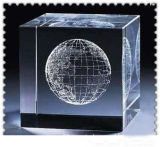 Crystal Cube with Laser Earth