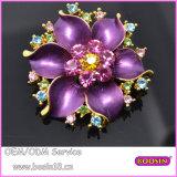 Purple Enamel Color Rhinestones Blooming 3D Flower Brooch 5705