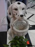Granite Stone Garden Dog with Basket Animal Sculpture