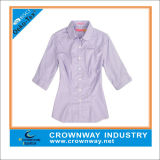 Ladies Short Sleeve Yarn Dye Stripes Shirts for Wholesale
