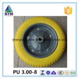 Flat Free Wheel 3.00-8 Metal Rim Ball Bearing PU Wheel