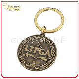Customized Antique Brass Embossed Logo Metal Key Ring (CK31)