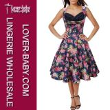 Retro Flower Print Women′s Dress (L36105-4)