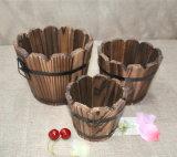 Round Wooden Flower Pot for Garden/Home Decoration
