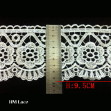 White Polyester Guipure Lace Trim with Mesh Backing L032