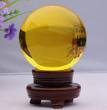 Yellow Crystal Glass Ball with Base