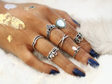 Anillos Punk Vintage Retro Finger Tibetan Flower Knuckle MIDI Ring