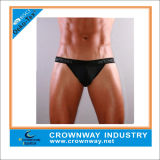 Men Sexy Plain Thong Brief Shorts with Jacquard Waistband