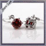 High Quality Dark Garnet Red Cubic Zirconia Silver Eardrop Jewelry