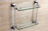 Wall Mounted Brass Bathroom Double Glass Shelf Chrome Finish 6312
