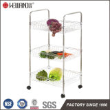 DIY Chrome Kitchen Metal Wire Basket Trolley Rack with Nylon Wheels