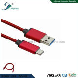 USB Type C Charging Cable with Red Braid and Matel Head Ce RoHS